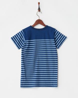 ブルー インディゴパネルボーダーTシャツを見る