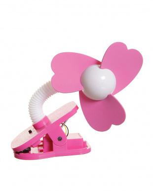 ホワイト×ピンク ホワイト×ピンク ベビーカー扇風機 クリップオン ファン見る