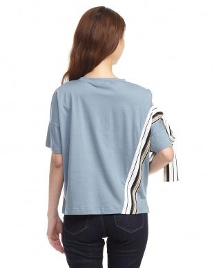 ブルー スモーキーブルー サイドストライプ デザインTシャツ見る