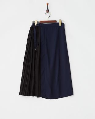 ネイビー ラップ風サイドプリーツスカート見る