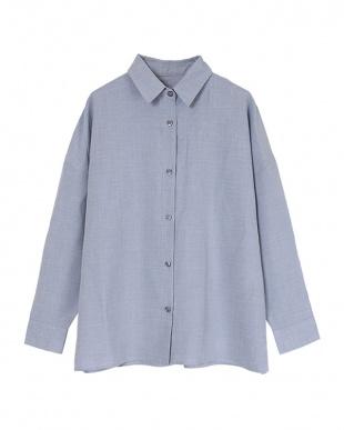 ブルー リネンライクワイドシャツ見る