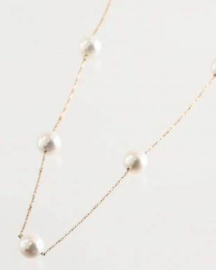 K18YG あこや本真珠 8.0~9.0mm 大珠ステーションネックレスを見る