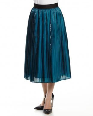 ブルーグリーン シャインプリーツスカート見る
