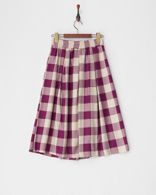 パープル チェックフレアスカートを見る