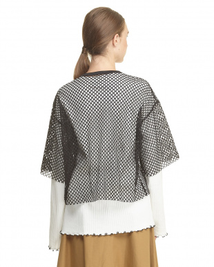 WHITE MESH LAYERED RIBBED JERSEY TOPを見る
