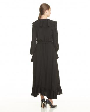 BLACK BLACK RAYON CREPE RUFFLE WRAP DRESSを見る