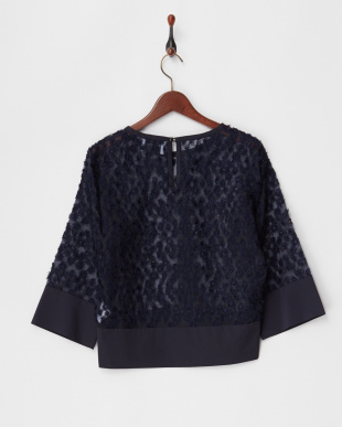 A.NAVY FLOWER EMBROIDERED ORGANZA TOPを見る
