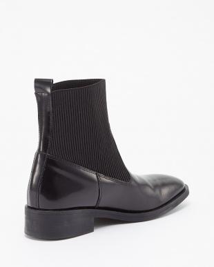 ブラック イタリア製 エラスティックラバー本革ブーツ見る