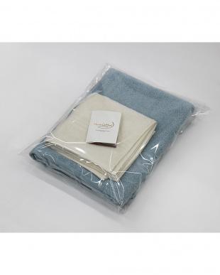 アクア/コーラルホワイト Micro Cotton THE SEASONS  タオルセット バスタオル(アクア)×1、フェイスタオル(コーラルホワイト)×1見る