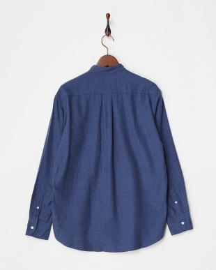 ブルー 0050010024シャギーシャンブレーバンドカラーシャツ見る