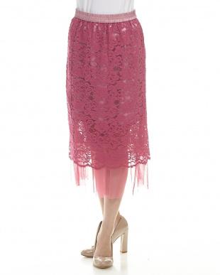 ピンク系サブ リバーシブルチュールヘムレーススカート見る