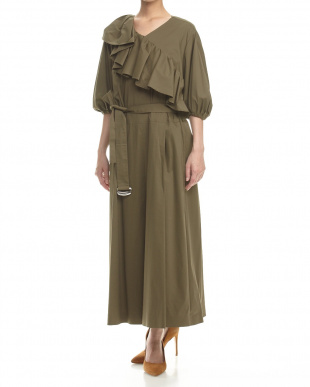 KHAKI ASYMMETRY TUCKED FRILL DRESSを見る