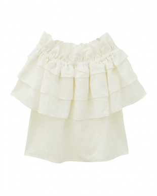 WHITE Linen Tiered Tops見る