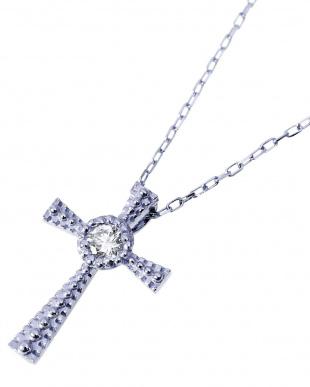 K18WG 天然ダイヤモンド 0.03ct クロス ネックレス見る