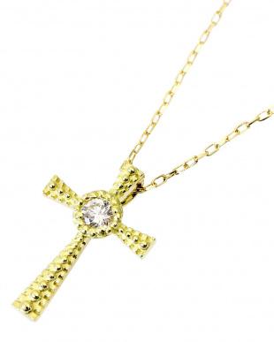 K18YG 天然ダイヤモンド 0.03ct クロス ネックレス見る