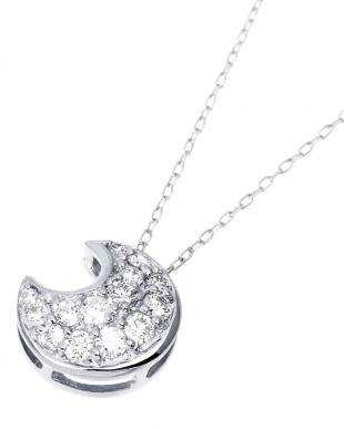 K18WG 天然ダイヤモンド 計0.2ct ムーン パヴェ ネックレス見る