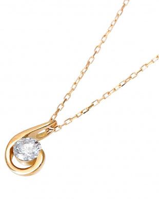 K18PG 天然ダイヤモンド 0.1ct ドロップ ネックレスを見る