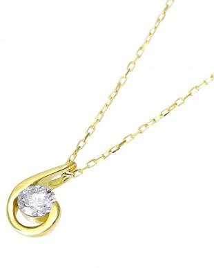 K18YG 天然ダイヤモンド 0.1ct ドロップ ネックレスを見る
