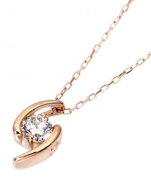K18PG 天然ダイヤモンド 0.1ct デザイン ネックレスを見る