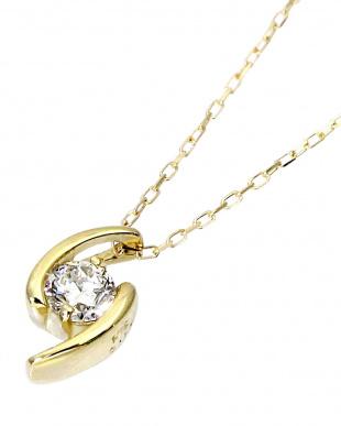 K18YG 天然ダイヤモンド 0.1ct デザイン ネックレス見る