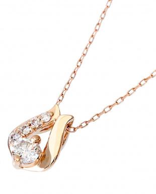 K18PG 天然ダイヤモンド 計0.1ct デザイン ネックレスを見る