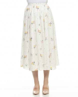 オフホワイト ドットフラワー刺繍スカートを見る