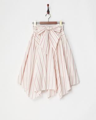 レッド系 ランダムヘムストライプシャツスカート見る