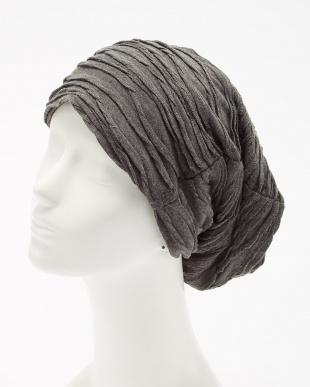 ダークグレー デザインタック ニット帽 (オリジナルバッグ付き)見る