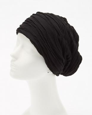 ブラック デザインタック ニット帽 (オリジナルバッグ付き)見る