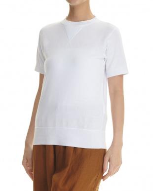 ライトグレー リネン裏毛半袖スウエットシャツ見る