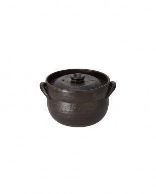 黒釉2合ごはん鍋見る