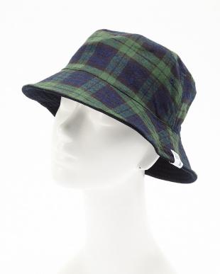 ネイビー INDIGO CHECK×PIQUE RV BUCKET HAT(インディゴ チェック×ピケ リバーシブル バケットハット)見る