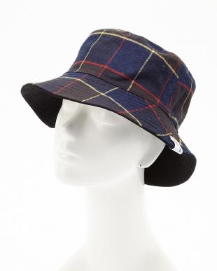 ブラック INDIGO CHECK×PIQUE RV BUCKET HAT(インディゴ チェック×ピケ リバーシブル バケットハット)見る