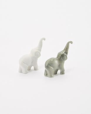 ホワイト&グレー ゾウの置物見る