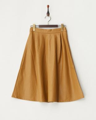 キャメル フェイクレザーフレアスカートを見る