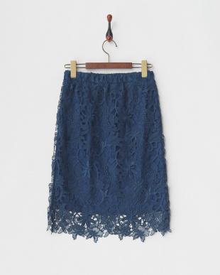 ブルー レースタイトスカート見る