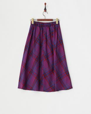 ブルー チェック柄プルオンスカートを見る