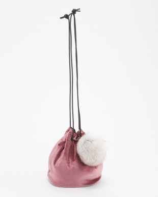 PINK ファー玉付巾着バッグ見る