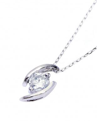 Pt900/Pt850 天然ダイヤモンド 0.15ct 一粒デザイン プラチナネックレス見る