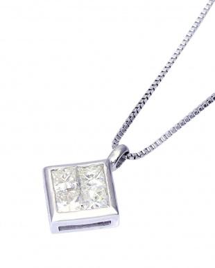 K18WG 天然ダイヤモンド 計0.3ct プリンセスカット スクエアネックレスを見る