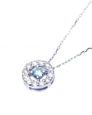 K18WG 天然ダイヤモンド 計0.2ct アイスブルーコンビネーション サークルネックレス見る