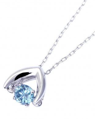 K18WG ダンシング 天然ダイヤモンド アイスブルー 0.1ct アローネックレス見る