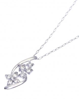 PT900/PT850 天然ダイヤモンド 計0.2ct デザイン ネックレス あずき40cm見る