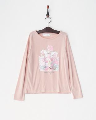 ピンク9 ガーリープリント長袖カットソー GIRLを見る