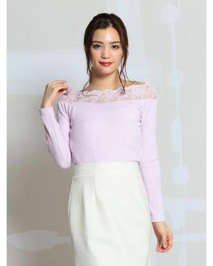 ピンク スカラレース長袖Tシャツを見る