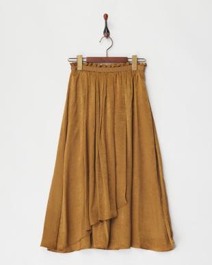 52 ピーチサテンラップギャザースカート見る