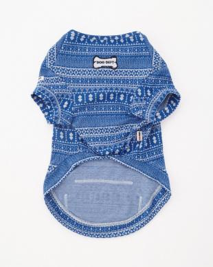 ブルー ジャガードプリントTシャツ ドッグウェアを見る