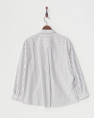 グレー  長袖スキッパーシャツ|WOMEN見る