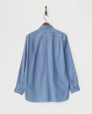 ブルー デラベダメージ加工比翼ボタンダウンシャツ|MEN見る