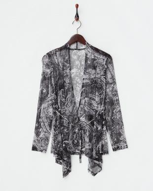 60ペイズリー柄(黒白系)×ブラック無地 ペイズリー×ブラック 4WAY ドレープ衿ジャケットセットを見る